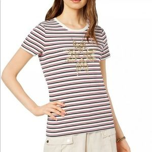 TOMMY HILFIGER IVORY STRIPED STUDDED STAR T-SHIRT